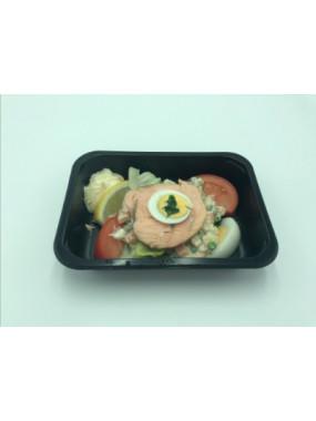 Assiette de médaillon de saumon / macédoine